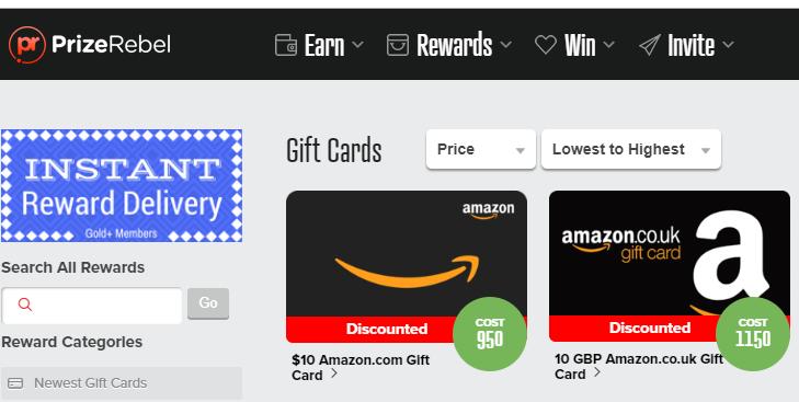 Prizerebel free amazon gift card